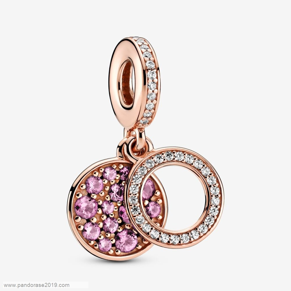 Vackra Smycken Online Mousserande Rosa Disc Double Dangle Charm